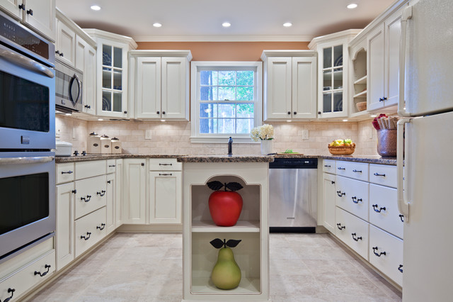 Wonderful Traditional U Shaped Enclosed Kitchen Idea In Atlanta With Glass Front  Cabinets, White