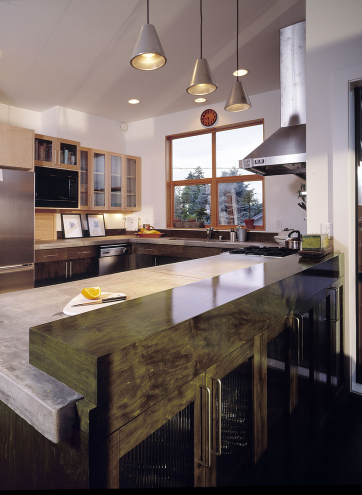 Kitchen - contemporary kitchen idea in Seattle with concrete countertops and stainless steel appliances