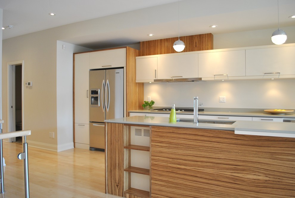 Minimalist kitchen photo in Ottawa with stainless steel appliances, quartz countertops, flat-panel cabinets and white cabinets