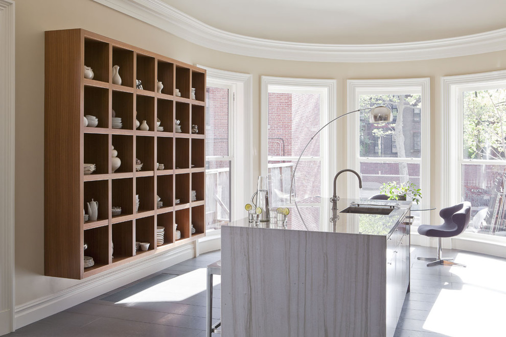 Inspiration for a contemporary enclosed kitchen remodel in New York with quartzite countertops and open cabinets