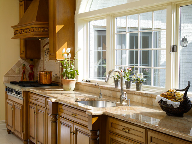Beau Kitchen Alteration With Large Window Over Sink Traditional Kitchen