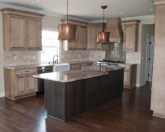 Kitchen Design Photos with Distressed Cabinets and Flat panel Cabinets