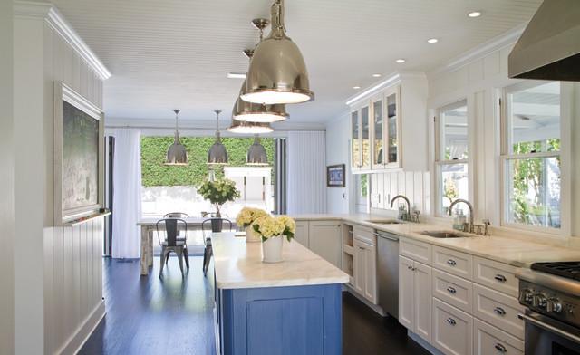 kitchen blue floating island beach style kitchen