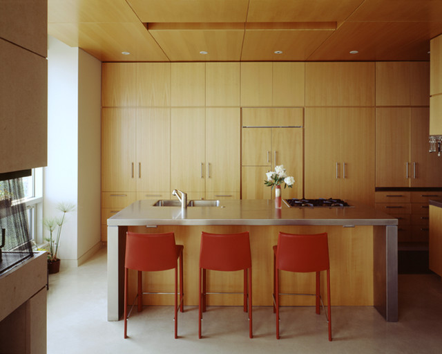 Kitchen And Ceiling Of Beech Wood Veneer. Stainless Steel Countertops.  Midcentury Kitchen
