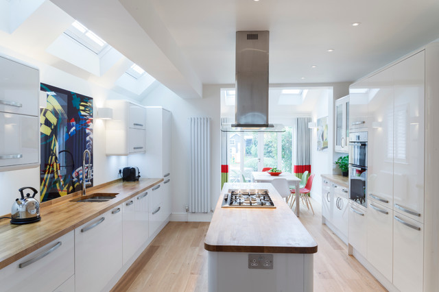 Design Ideas For A Contemporary Galley Eat In Kitchen In Cambridgeshire  With An Undermount Sink