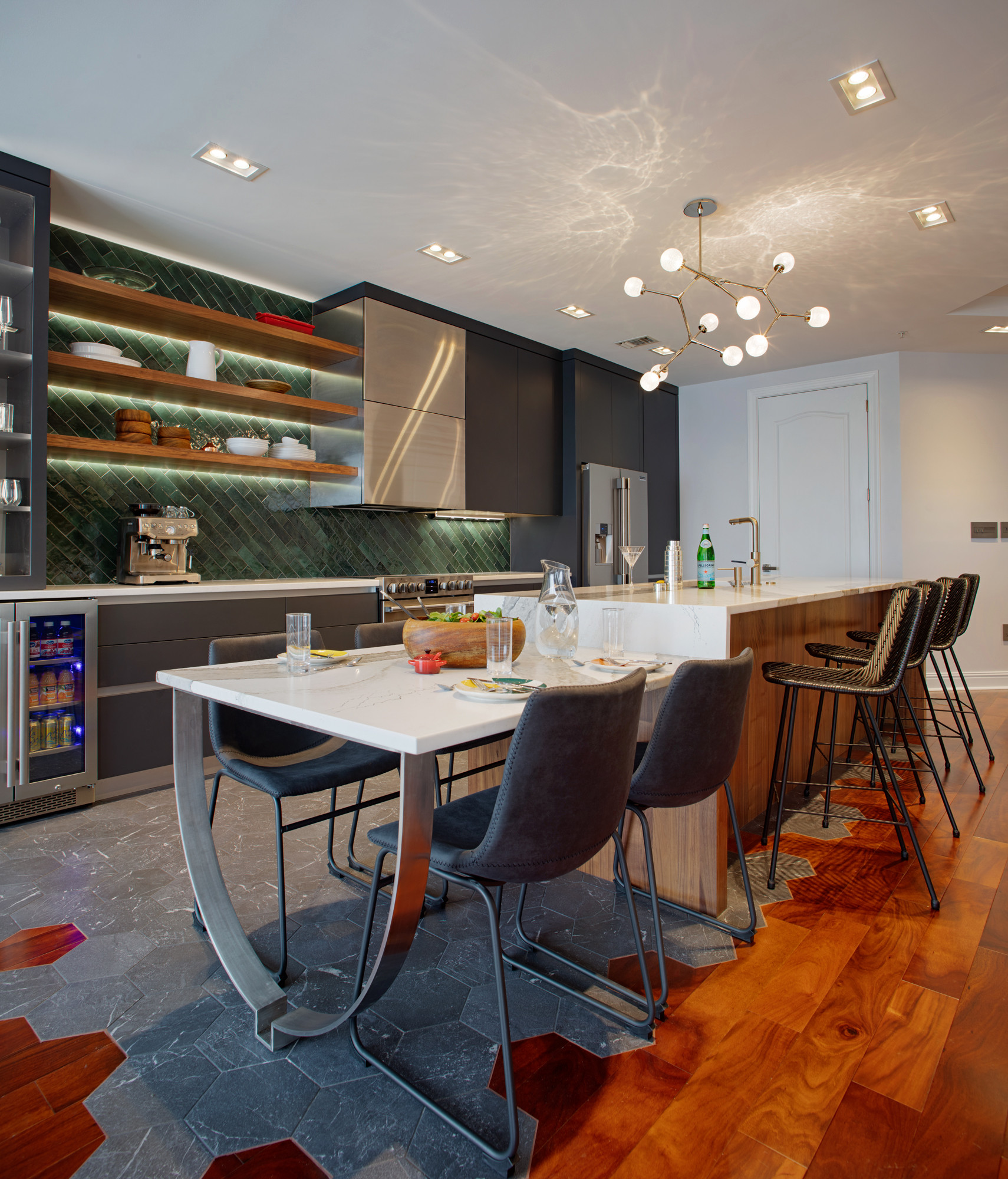 Kitchen and living spaces integrated