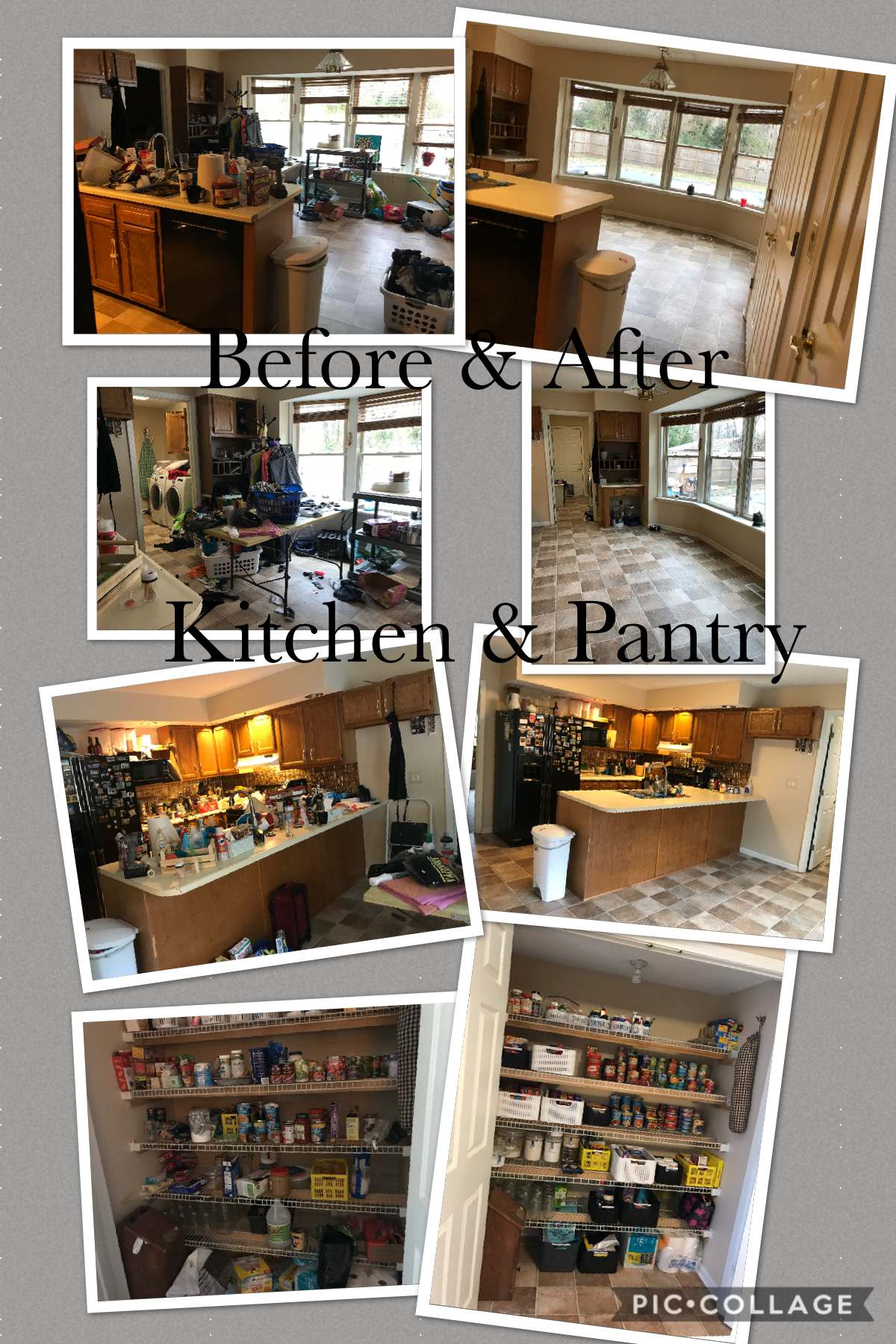 Kitchen and Pantry before and after