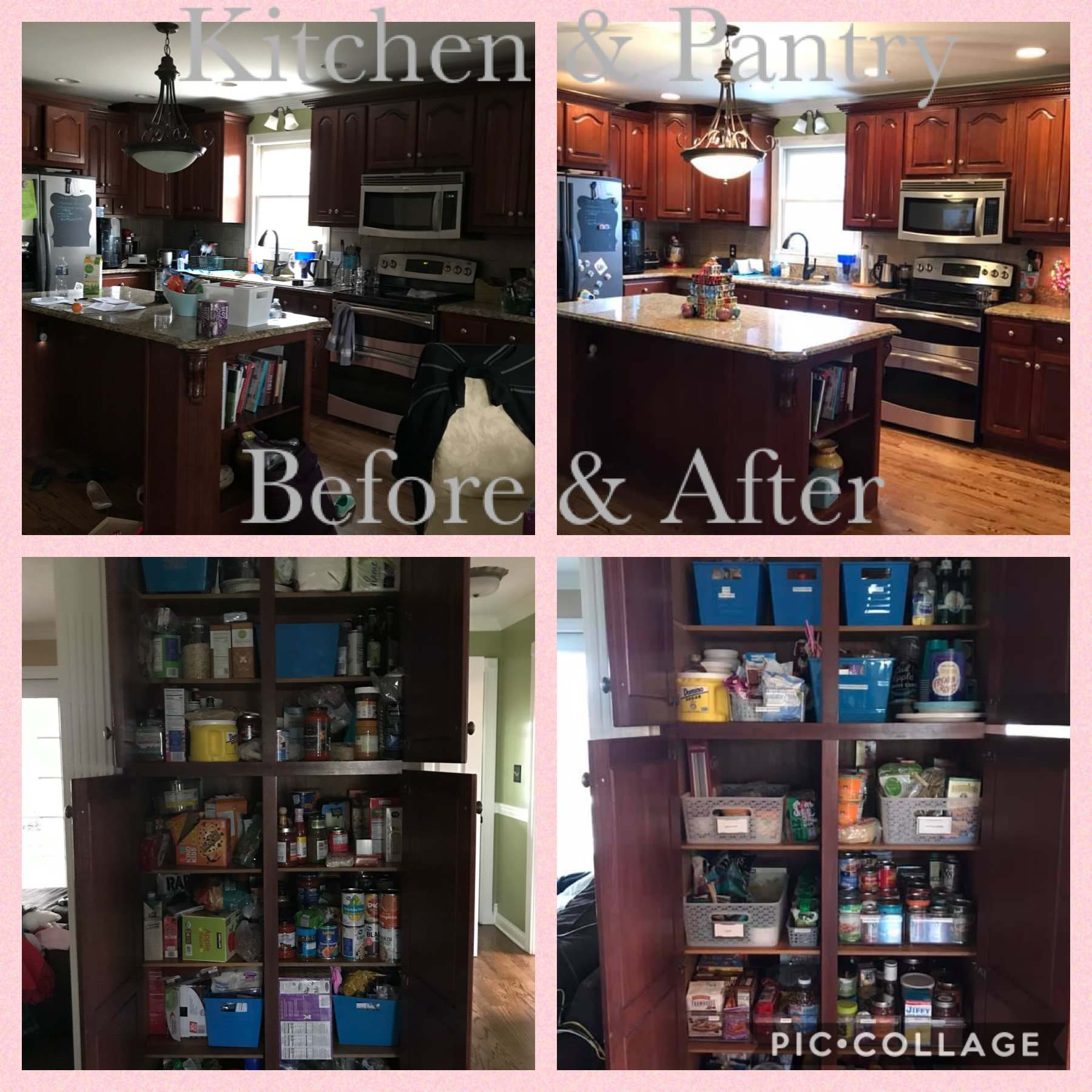 Kitchen and pantry cabinet before and after