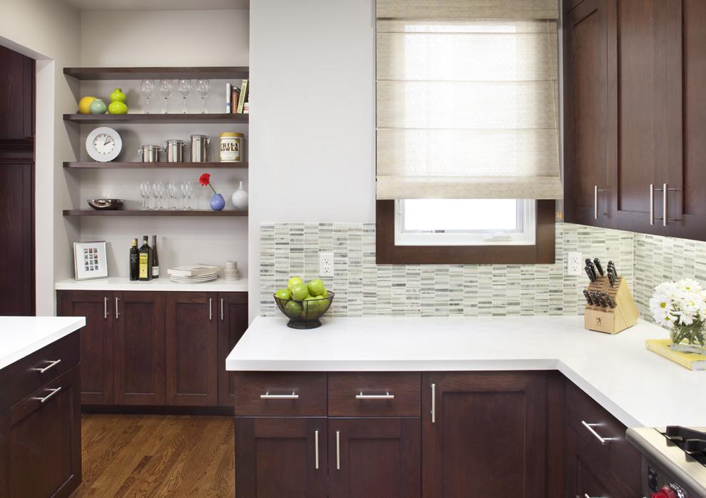 Kitchen - contemporary kitchen idea in San Francisco with shaker cabinets, dark wood cabinets, quartz countertops, white backsplash and stone tile backsplash