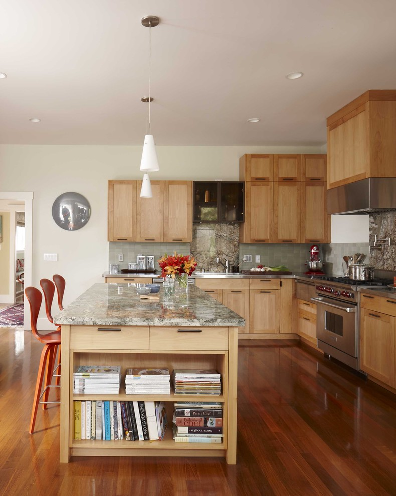 Kitchen - transitional l-shaped kitchen idea in San Francisco with stainless steel appliances, granite countertops, shaker cabinets, light wood cabinets and gray backsplash