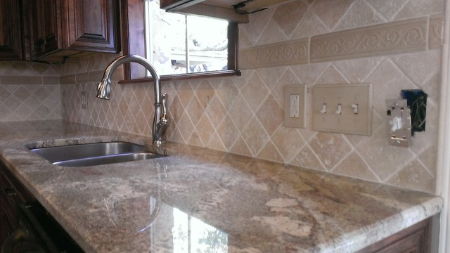 kitchen back splash 4 x 4 travertine diagonal layout traditio