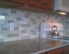 Kitchen Back Splash - Glass Sub-way Tile traditional kitchen