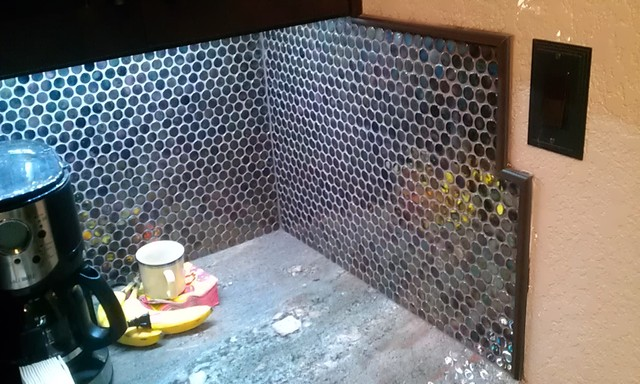 Kitchen back splash iradescent mosaic penny tile - Penny tile backsplash images ...
