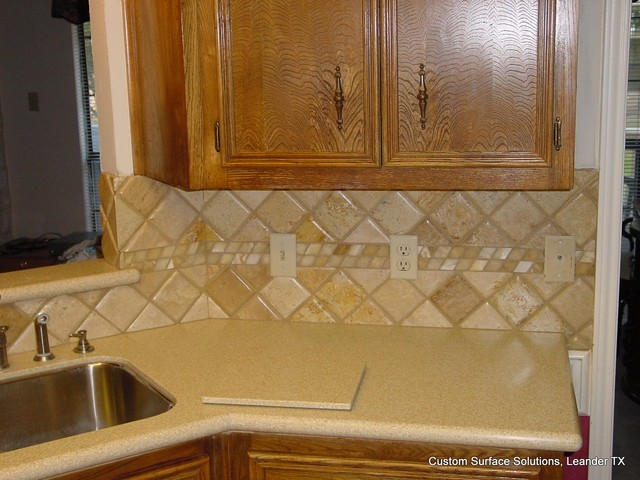Kitchen Back Splash Noche Travertine Tile Silestone Counter Traditional Kitchen Austin