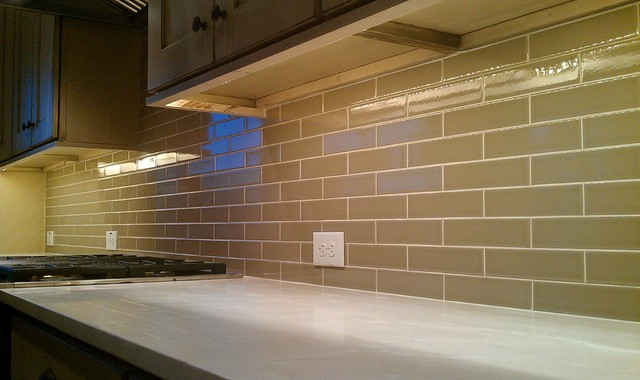 "Kitchen Back Splash - Subway 2"" x 8"" Olive Crackle - Contemporary - Kitchen - austin - by Custom ..."