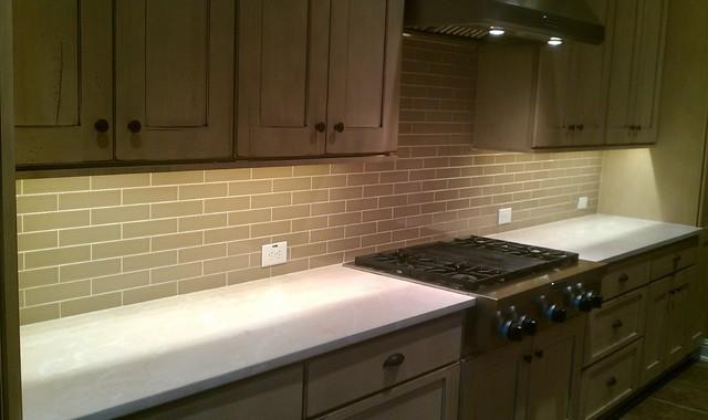"kitchen back splash - subway 2"" x 8"" olive crackle - contemporary"