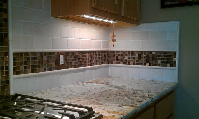 Kitchen Back Splash   Travertine Sub Way And Glass Mosaic Tile Contemporary  Kitchen