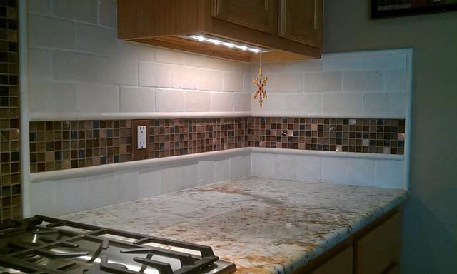 Kitchen Back Splash - Travertine Sub-way and Glass Mosaic ...