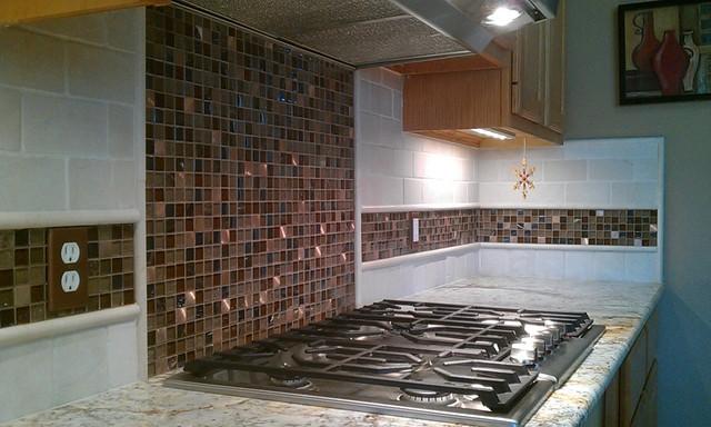 kitchen back splash travertine sub way and glass mosaic tile rh houzz co uk Travertine Mosaic Backsplash Ivory Travertine Backsplash