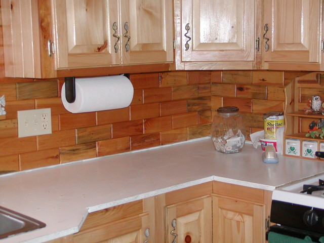 Kitchen back splashes using our wooden wall tiles for Traditional kitchen wall tiles