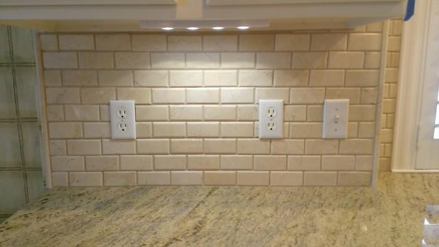 Kitchen Backsplash 2 X 4 Crema Marfil Beveled Subway Tile Traditional
