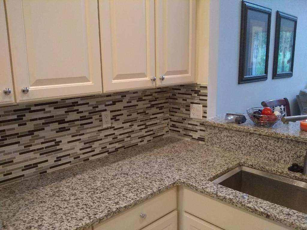 Kitchen backsplash and countertop and cabinets