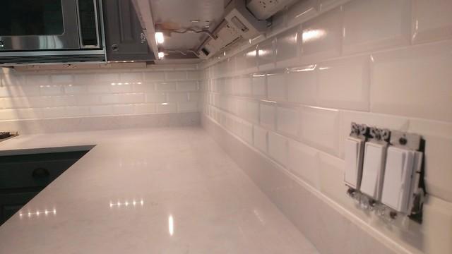 Kitchen Backsplash Ann Sacks 3 X 6 Beveled Subway Tile Contemporary