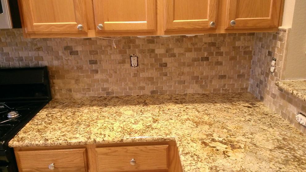 Kitchen Backsplash Basket Weave Stone No Grout Traditional Kitchen Austin By Custom Surface Solutions