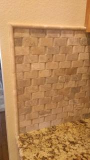 kitchen backsplash basket weave stone no grout traditional