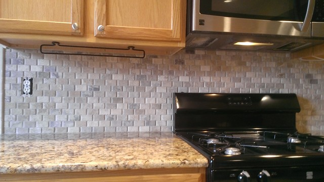 kitchen backsplash basket weave stone no grout traditional kitchen - No Backsplash In Kitchen