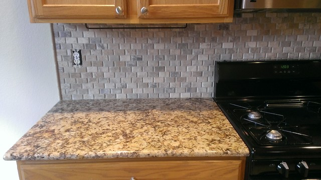 Kitchen Backsplash Basket Weave Stone No Grout