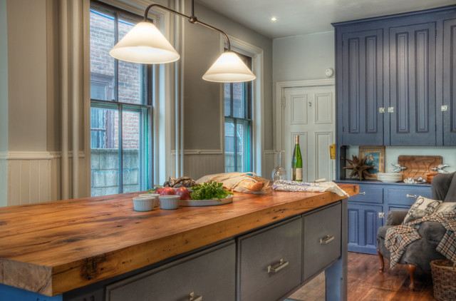 Traditional Kitchen Idea In Philadelphia With Wood Countertops Raised Panel Cabinets And Blue