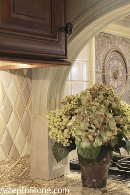 Kitchen Backsplash Hand Made Ceramic Tile With Medallion Traditional Kitchen