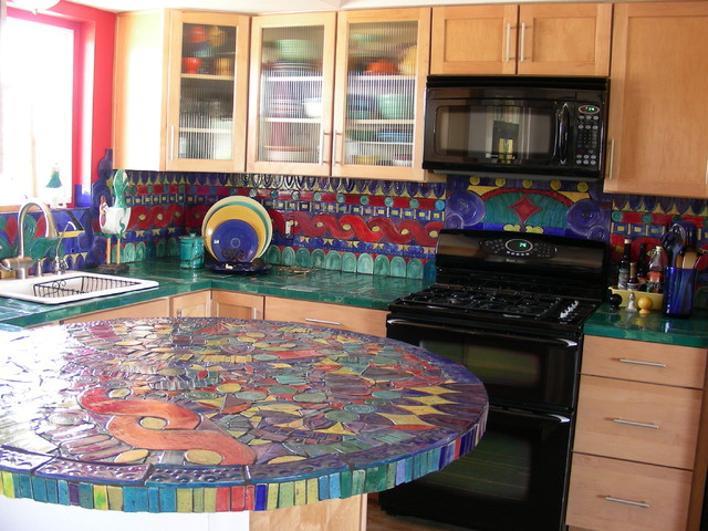 Kitchen Backsplash Handmade Tile Mosaic Eclectic Kitchen