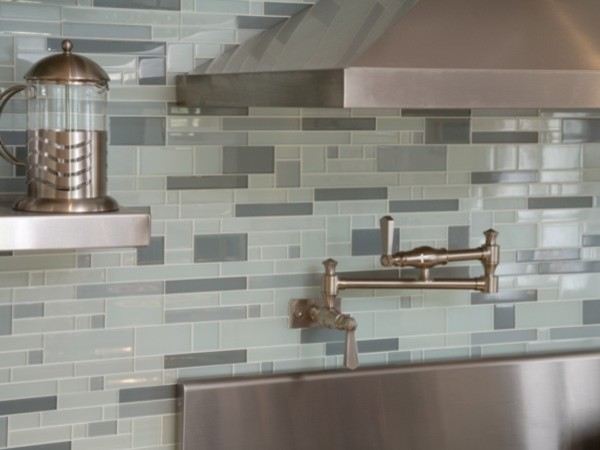 Kitchen backsplash contemporary kitchen other metro for Contemporary kitchen backsplash
