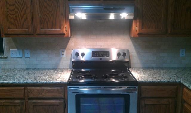 Kitchen Backsplash - Marble Subway Tile / Liner Tile traditional-kitchen