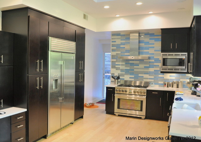 Kitchen backsplash modern kitchen san francisco by marin designworks glass tile design - New modern house kitchen tiles designs ...