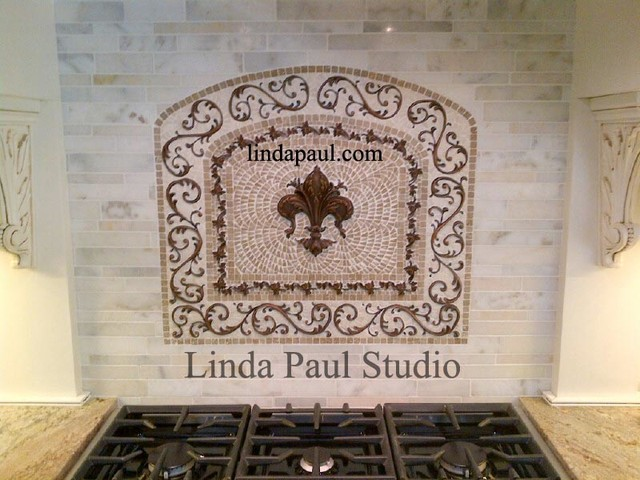 Kitchen Backsplash Mosaic Tile Medallion With Fleur De Lis Traditional