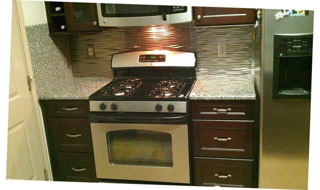 Kitchen - Backsplash Oval Ceramic Mosaic and Fasade Panels ...