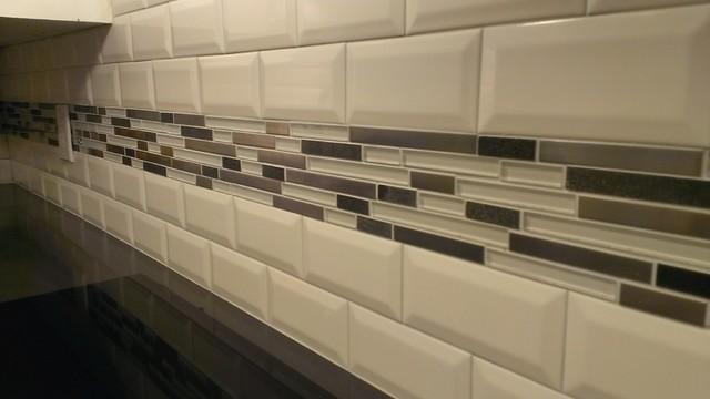 Kitchen Backsplash Subway 3 X 6 Beveled W Glass Metal Band Contemporary Kitchen Austin By Custom Surface Solutions