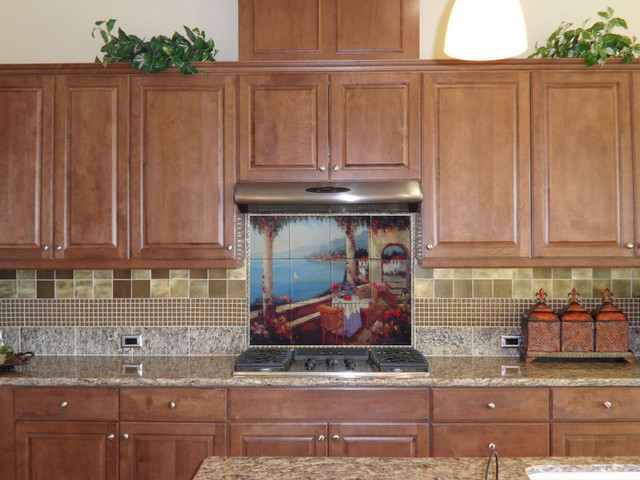 tile murals for kitchen kitchen backsplash tile mural mediterranean kitchen 6172