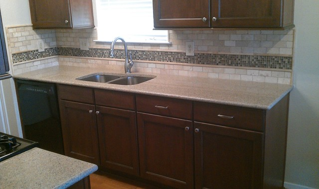 Kitchen Backsplash - Travertine Sub-Way / Liner and Glass ...