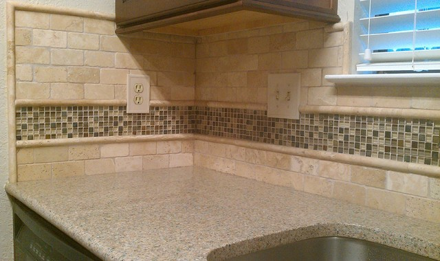 kitchen backsplash travertine subway glass mosaic traditional