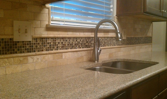 Kitchen Backsplash - Travertine Subway / Glass Mosaic traditional-kitchen