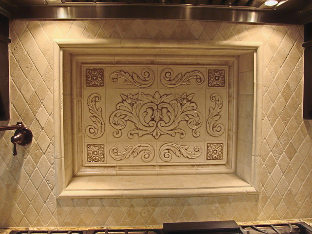 Kitchen Backsplash Using Floral Tile, Scrolls, Medallions