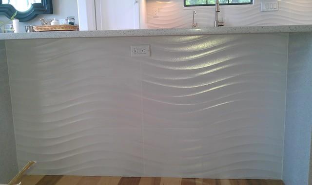 Kitchen Backsplash Wave Panel Tile Contemporary Kitchen Austin By Custom Surface Solutions Houzz Uk