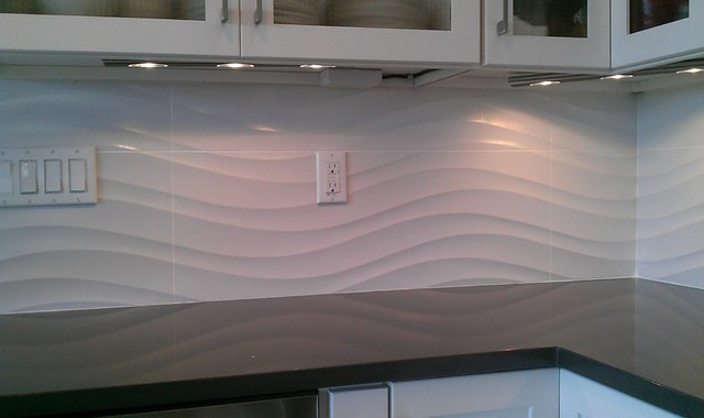 Kitchen Backsplash - Wave Panel Tile - Contemporary - Kitchen - austin - by Custom Surface Solutions