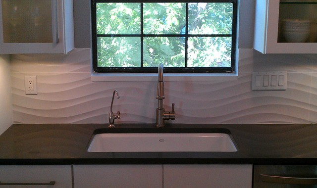 Kitchen Backsplash Wave Panel Tile Contemporary Austin By Custom Surface Solutions