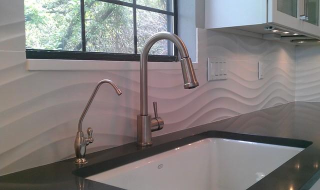 Kitchen Backsplash Wave Panel Tile Contemporary Kitchen Austin By Custom Surface Solutions