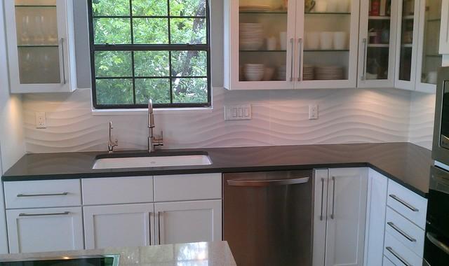 Kitchen - Backsplash -White Wave Panel Tile contemporary-kitchen